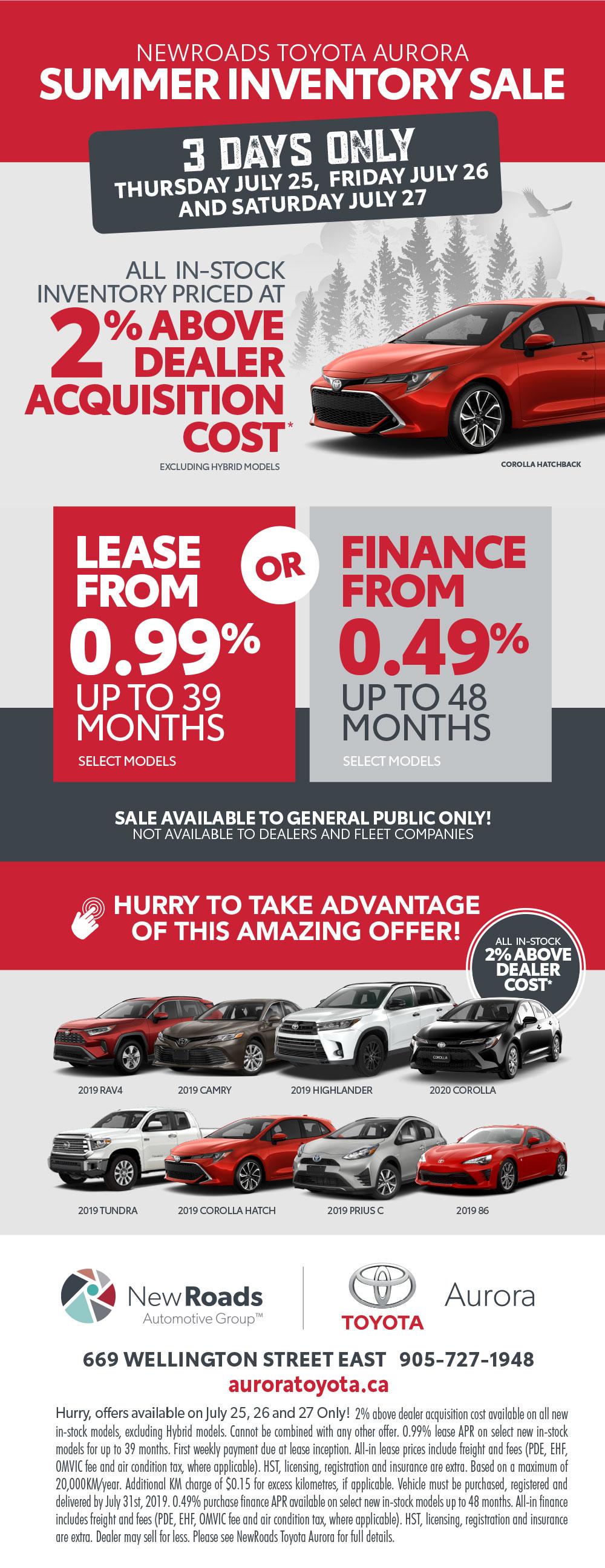 Toyota Dealership Specials in Aurora Ontario